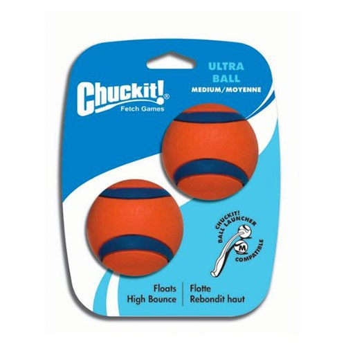 Chuckit Ultra Medium Fetch Game Ball, Dog Toy– Pack 2