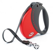 Flexi Comfort Retractable Tape Lead W/ Soft Grip Large Red
