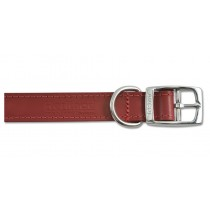 Heritage Leather Sewn/Half Lined Red Dog Collar 60cm