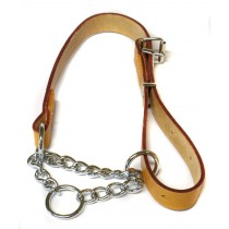 "Heritage Leather & Chain Check Collar Tan 60cm/24"" Sz 7"