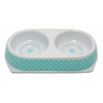 Ancol Polka Double Pet Dish, Extra-Small, Blue