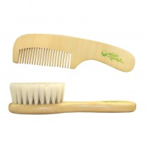 green sprouts Wooden Brush and Comb Set, Natural