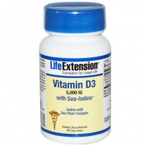 Life Extension Vitamin D3 5000 Iu with Sea-Iodine Capsules, 60 Count