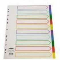 Concord Punched Pocket Dividers Plastic Multicolour-Tabbed A4